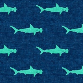 hammerhead sharks - teal on dark blue - LAD19