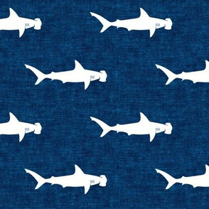 hammerhead sharks on dark blue - LAD19