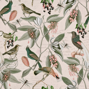 Vintage Magnolia Flowers And Birds Pattern