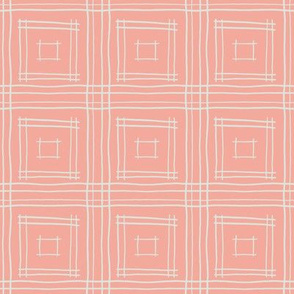 Hand-drawn Squares in Coral and Gray