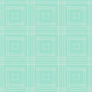 Hand-Drawn Squares in Mint Green & Gray