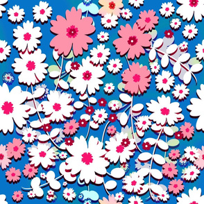 Flower Show (Pink on Blue) 18inch repeat.