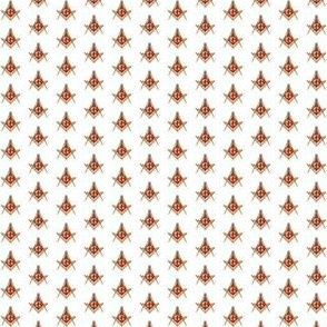 "Small 1/2"" Red Lodge Masonic Square Compass Red Gold White"