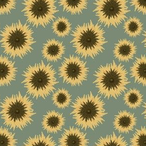 mexican sunflower pattern on dusty mint
