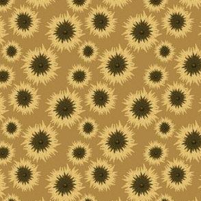 mexican sunflower pattern on mustard