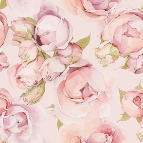 Watercolor Roses Painting -035-Pink