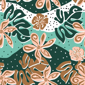 Hawaiian Flowers and Monstera Leaves in Limited July 2019 Palette