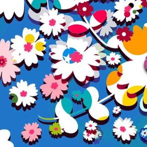 Circus Flowers (Blue) 40inch repeat, David Rose Designs