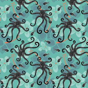 tropical bkgd-dotty octopus