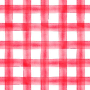 watercolor plaid - scarlet on white - C19BS