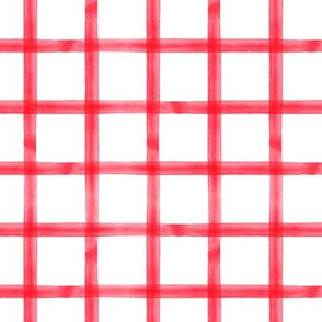 Watercolor plaid - window pane plaid - scarlet - C19BS