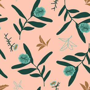 Spearmint & Forest Eucalyptus on Rose Background