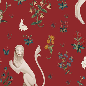 Lion and Unicorn on deep red