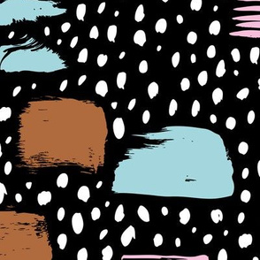 Strokes dots cross and spots raw abstract brush strokes memphis scandinavian style multi color copper blue pink