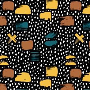 Strokes dots cross and spots raw abstract brush strokes memphis scandinavian style multi color autumn ochre SMALL