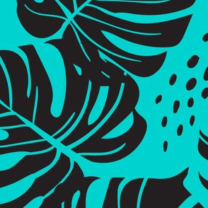 Large Monstera Leaves - turquoise and black