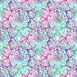 Iridescent Mint, Pink and Purple Watercolor Mandala small print