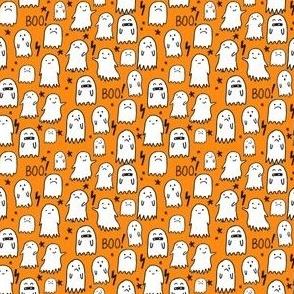 SMALL  - ghost orange halloween fabric