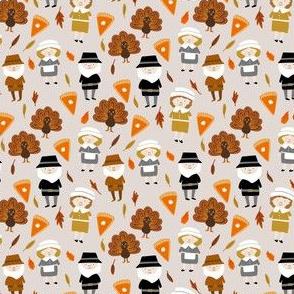 SMALL - Thanksgiving fabric - pilgrim fabric, thanksgiving fabric, turkey fabric, autumn leaves - light