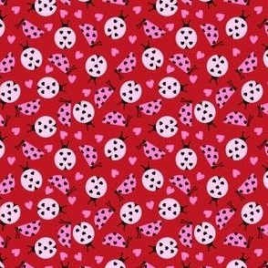 SMALL - girly valentines day ladybug fabric // ladybug fabric, ladybird fabric, cute ladybird, girly ladybugs, girls fabric, cute design for valentines - cherry red