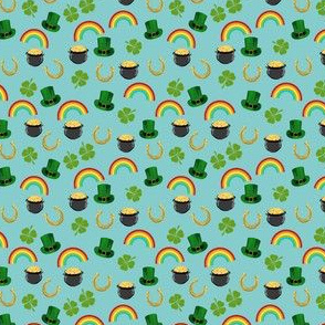 SMALL - st patricks day fabric - leprechaun fabric, pot of gold, lucky fabric, luck of the irish fabric, rainbow fabric - blue