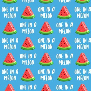 (small scale) one in a melon - red on blue - watermelon summer fruit - LAD19BS