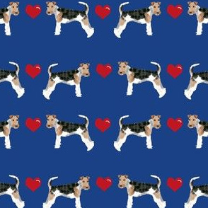 wire fox love hearts dog breed fabric - navy