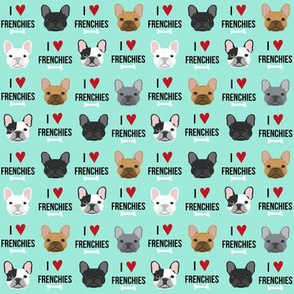 SMALL - frenchie dog fabric - i love french bulldogs fabric - frenchie face - aqua