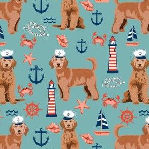 golden doodle nautical fabric - apricot doodle dog, apricot doodle fabric, doodle dog fabric, doodle dog, cute dood, nautical dog fabric - blue