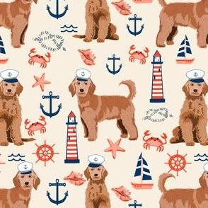 golden doodle nautical fabric - apricot doodle dog, apricot doodle fabric, doodle dog fabric, doodle dog, cute dood, nautical dog fabric -cream