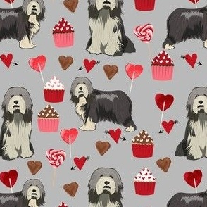 bearded collie valentines day fabric - cupcakes valentines fabric, bearded  collie fabric, dog fabric, dogs fabric - grey