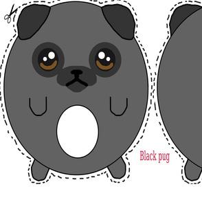 Black Pug Plush Pillow with white chest