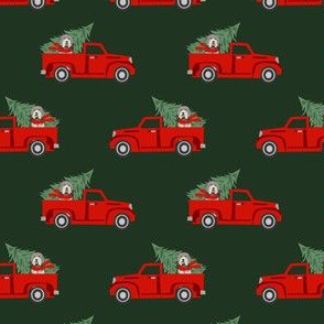 bearded collie christmas truck - red christmas truck, red truck, christmas fabric, dog christmas, christmas dog, bearded collie christmas - green