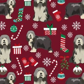 bearded collie christmas fabric - collie dog fabric, bearded collie fabric, christmas dog fabric -burgundy