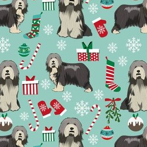 bearded collie christmas fabric - collie dog fabric, bearded collie fabric, christmas dog fabric - mint