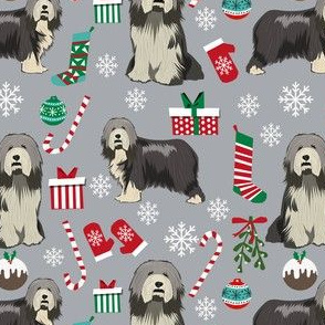 bearded collie christmas fabric - collie dog fabric, bearded collie fabric, christmas dog fabric - grey