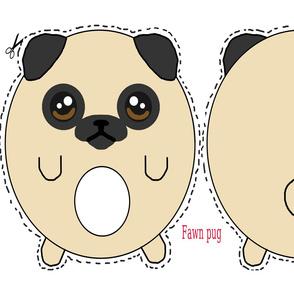 Fawn pug plush pillow