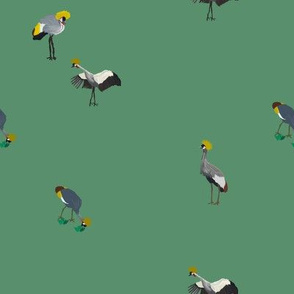 Painted Cranes on Green