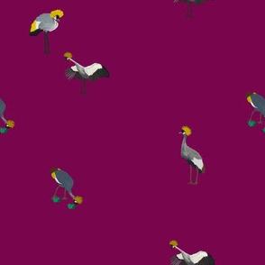 Painted Cranes on Maroon