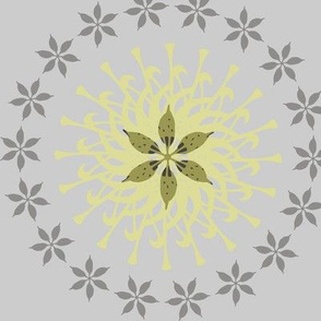 Flowers and sunshine - grey and yellow