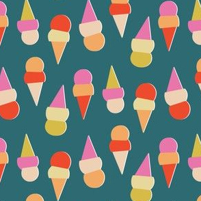 Abstract Ice Cream Cones - Blue