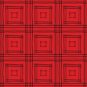 Hand-Drawn Squares in Red and Black