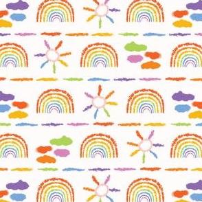 Hand drawn rainbow cloud sun illustration.