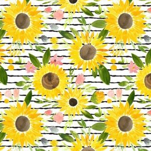 Sunflowers - Thin Stripes - SMALL scale
