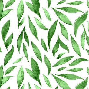 Watercolor Leaves - Green