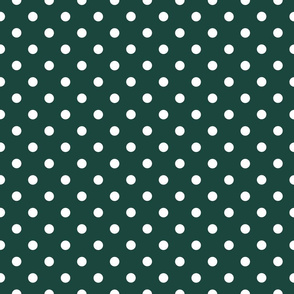 White Polka Dots on Forest Green
