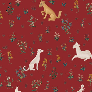 Unicorn and beasts on red