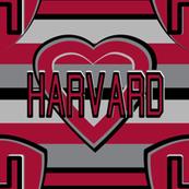 Harvard University Gray Crimson Black Team School Colors Stripes Heart