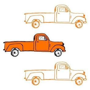 """10"""" Orange Vintage Trucks"""