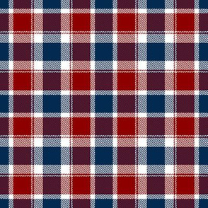 Plaid in Blue Red and White